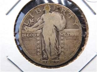 1927-D Standing Liberty Quarter. VG. Scarce low mintage