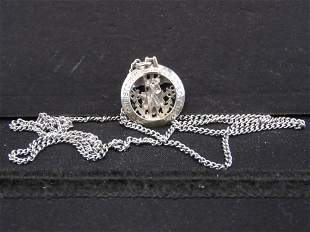 """Sterling Saint Christopher US Military Necklace - 24"""""""
