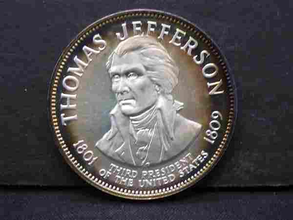 Thomas Jefferson Sterling Silver Medallion 500 Grains