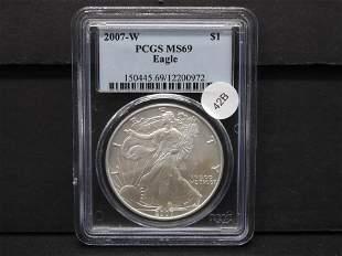 2007-W American Silver Eagle PCGS MS 69 One Oz. Fine