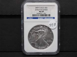 2009 American Silver Eagle Early Releases NGC MS 69 One