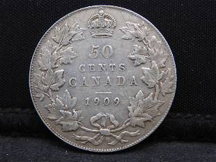 1909 Canadian 50 Cents Silver Coin