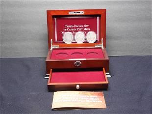 3 Decade Set of Carson City Mint Morgan Silver Dollars