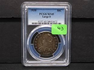 1830 Bust Half Dollar PCGS XF45 Large 0