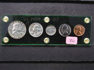 1953 U.S. Proof Set w/90% Silver Franklin Half Dollar,