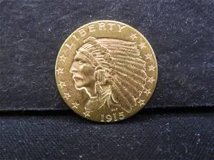 1915 - 2 1/2 Dollar Gold Indian Head-Quarter Eagle .900