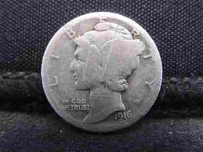 1916-D Mercury Silver Dime - Good Condition w/