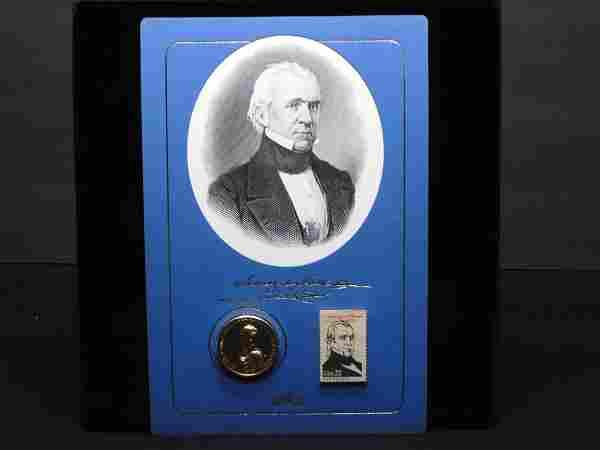 James K. Polk - 11th President - Medal & 22 Cent Stamp