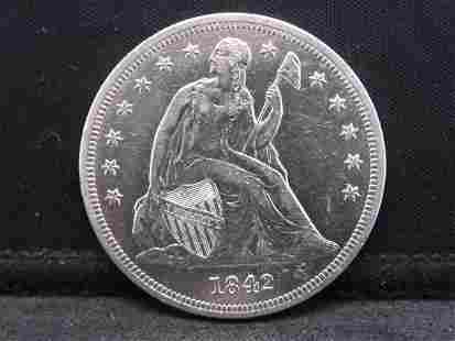 1842 Seated Liberty Silver Dollar - Amazing Detail &