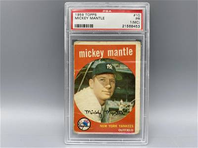 1959 Topps Mickey Mantle #10 PSA PR 1 (MC)