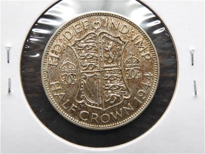 1944 Great Britain Silver Half Crown. AU+.