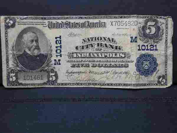 1911 Large Size $5 National Currency. Indianapolis,