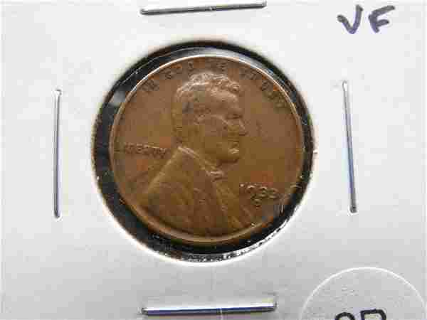 1933-D Lincoln 1c. VF.