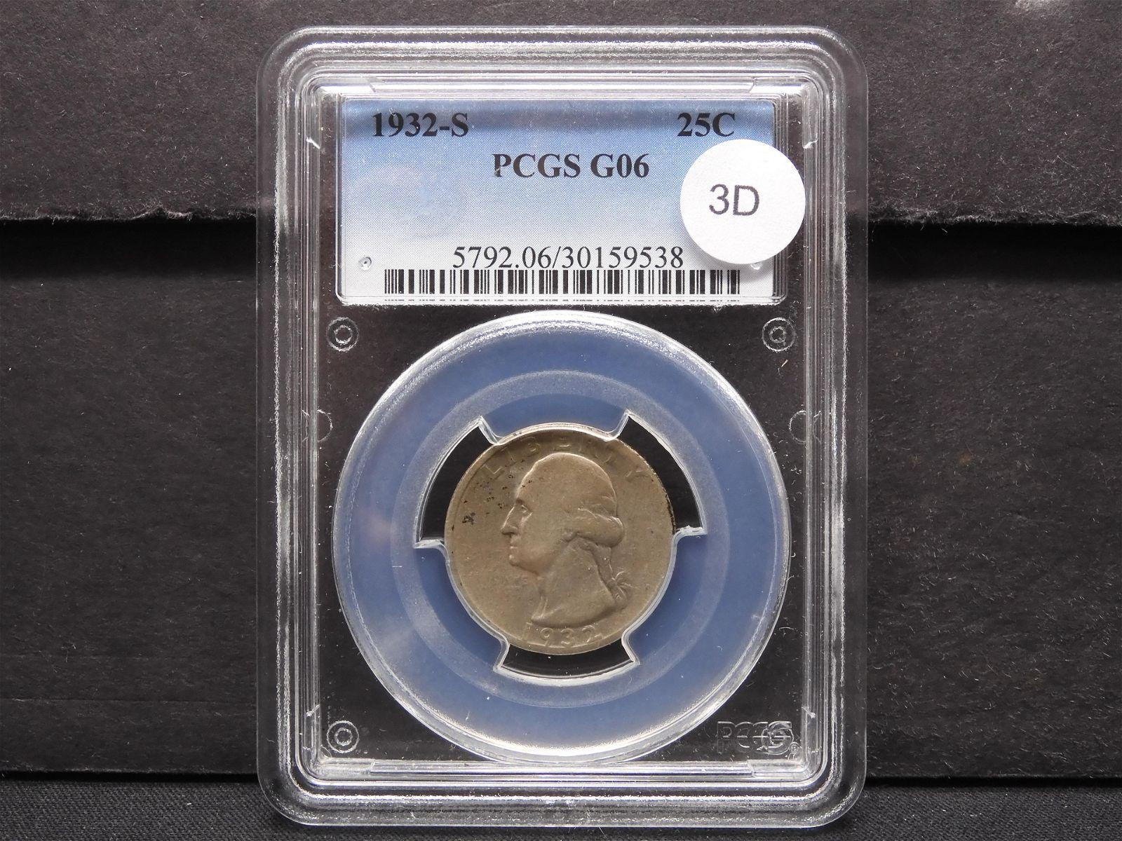 1932-S Washington 25c. PCGS G06.