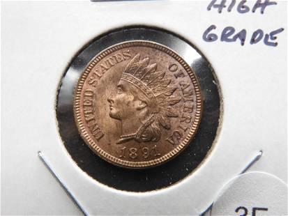 1891 Indian 1c. High Grade.