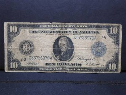 1913 Large Size $10 Note.. Low Grade. Scarce.
