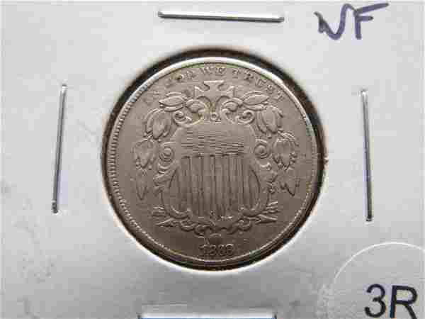 1868 Shield 5c. VF.