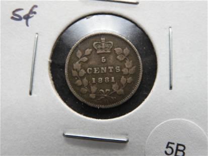1881-H Canada 5c. VF.