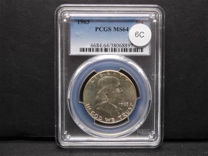 1963 Franklin 50c. PCGS MS64.