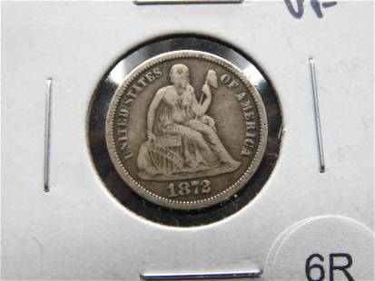 1872 Seated 10c. VF.
