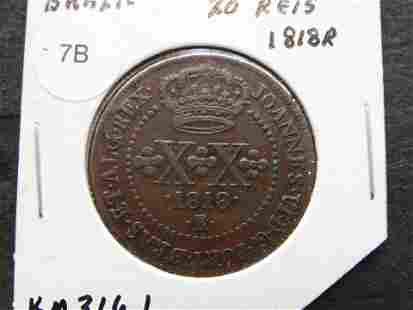 1818-R Brazil 20 Reis.