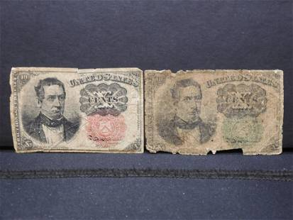 2 Low Grade Fractional Currency.