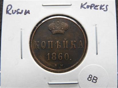 1860 Russia 2 Kopeks.