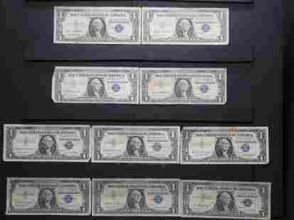 10 - $1 Silver Certificates. Circulated.