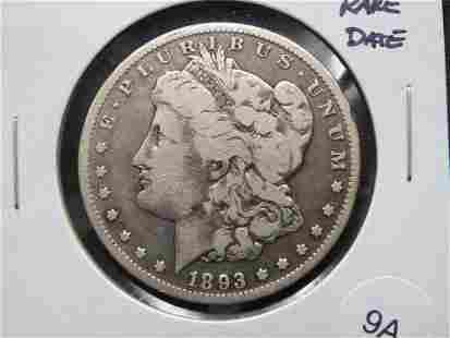 1893-CC Morgan $1. Rare Date.