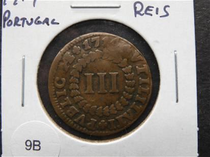 1714 Portugal 3 Reis. Rare.