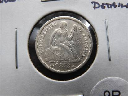 1873 Seated w/Arrows. 10c. XF Details.