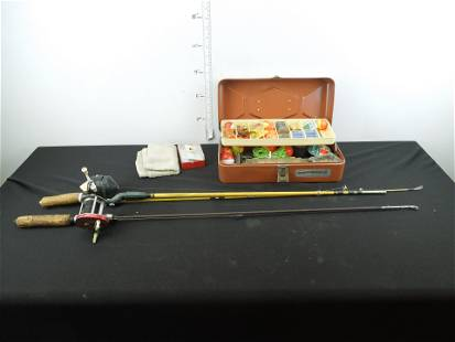Small OldPal Tackle Box and 2 Small Fishing Rods &