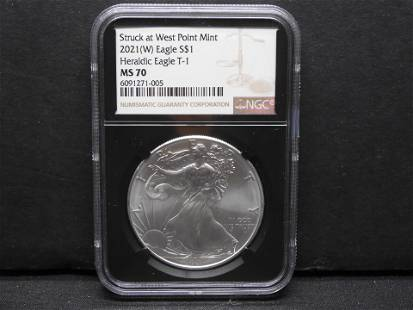 Struck at West Point Mint 2021-W Silver Eagle NGC MS70