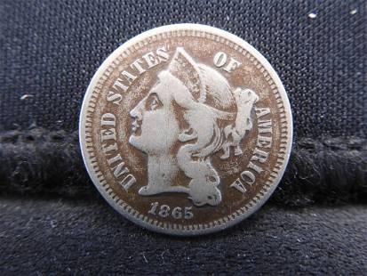 1865 Three Cent Nickel - Civil War Date!