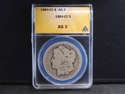 1884-CC ANACS AG3 Morgan Silver Dollar Rare to Find in