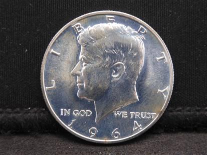 1964 Gem Proof Kennedy Silver Half Dollar - Bright! 90%