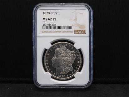 1878-CC NGC MS62 PL Morgan Silver Dollar - Rare
