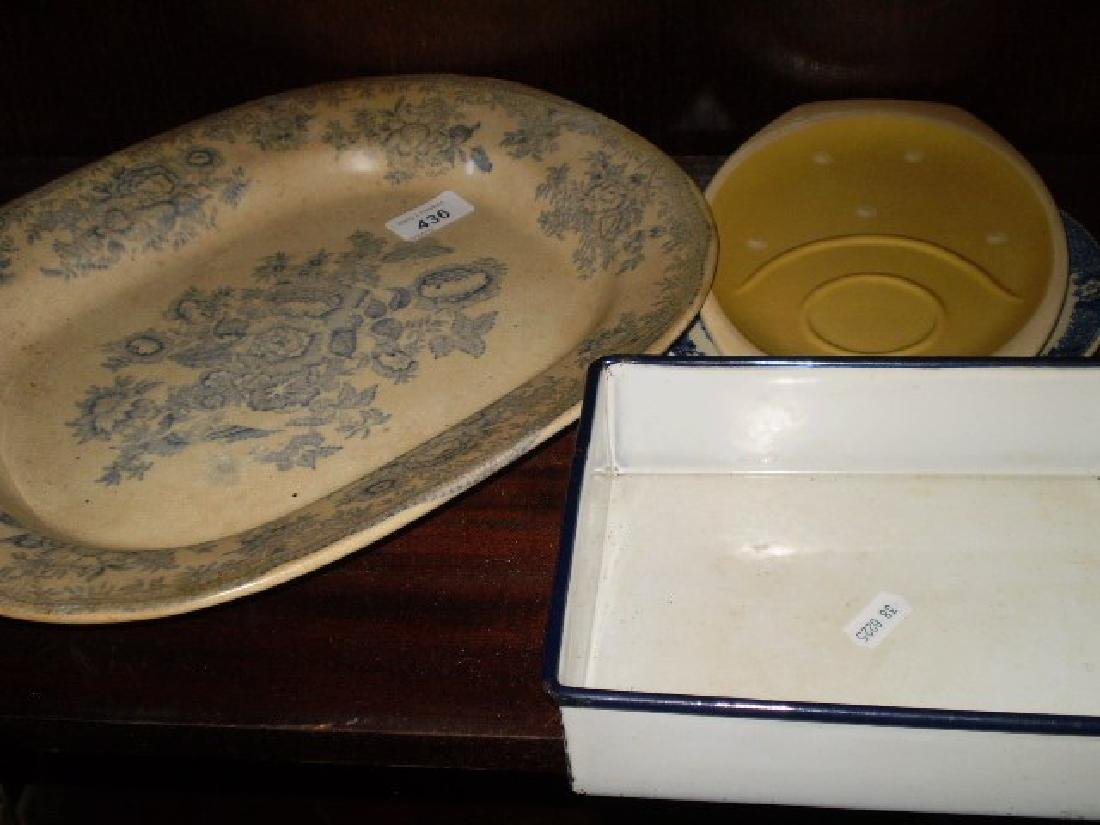 VINTAGE BLUE AND WHITE PLATTER PLUS TWO OTHER PLATES