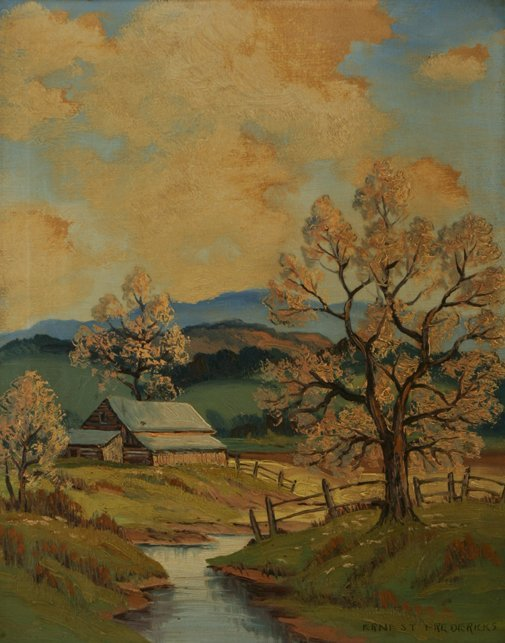 3001: Ernest Fredericks River Landscape Oil