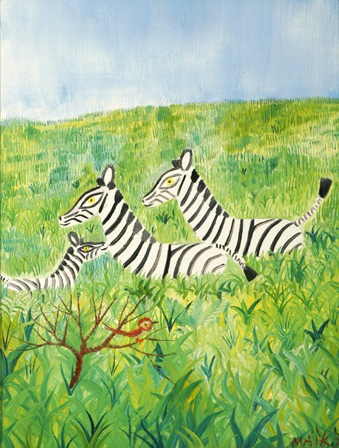 3006: Henri Maik Zebras Oil Canvas