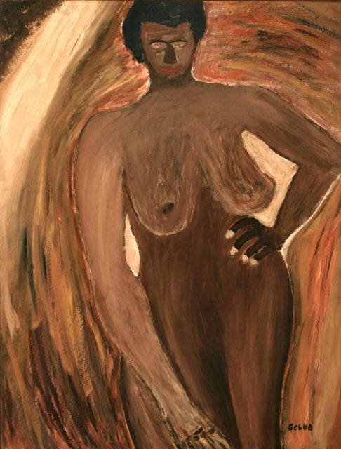 3009: Leon Golub Female Nude Oil on Board