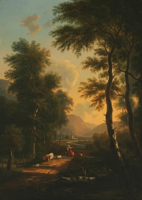 3019: Attributed to Victor De Grailly Landscape Oil