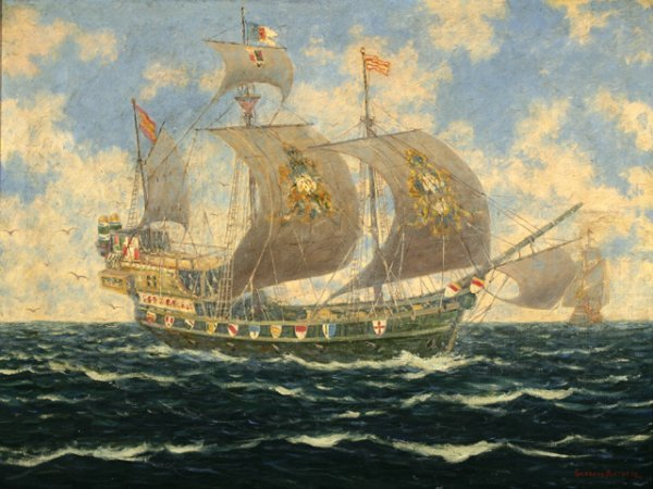 3020: Gulbrand Sether  Ship at Sea Oil on Canvas