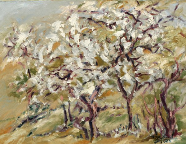 3022: Jose Bernal Orchard in WInter Oil on Canvas