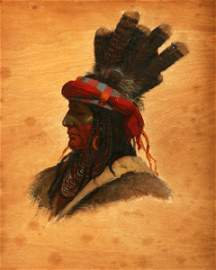 3064: Portrait Obijwa Chief Oil 19th C. American Indian