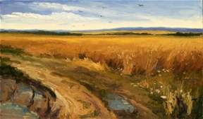 3074: Yuri O. Skorupsky Land of Golden Rye Oil on Wood