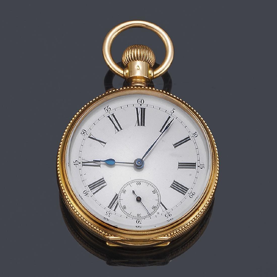 Open-faced pocket watch with triple calendar,
