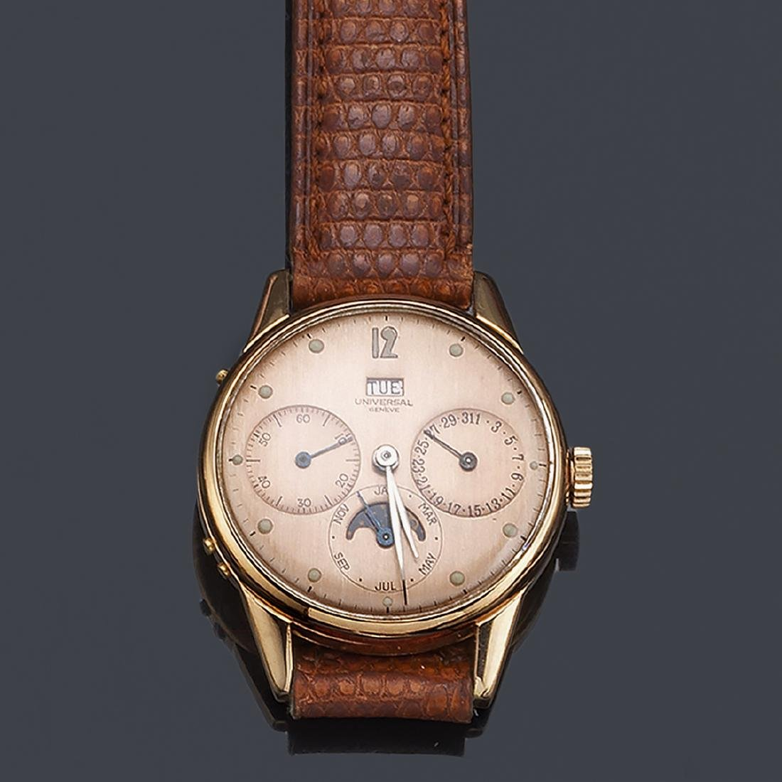 UNIVERSAL. Triple calendar and moonphase watch for men