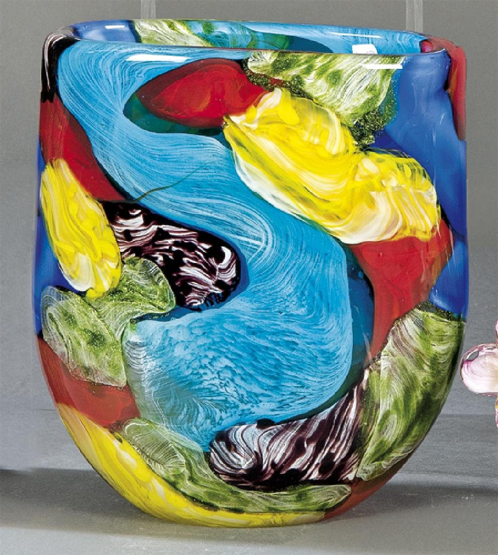 Multi-color Murano blown-glass vase with green