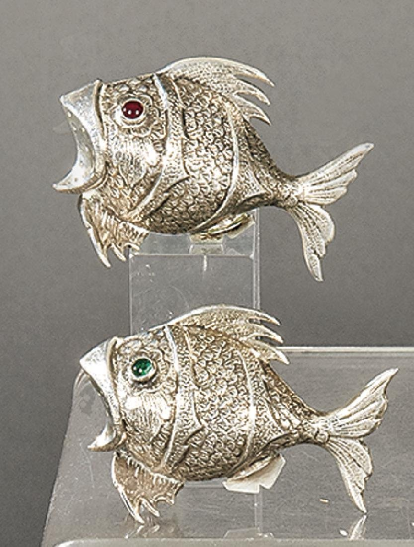 Salt and pepper shakers in fish shape made of sterling